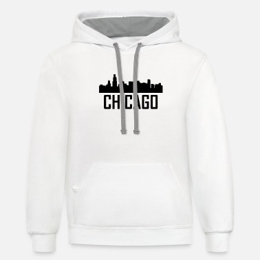 Chicago Chicago Illinois City Skyline - Unisex Two-Tone Hoodie