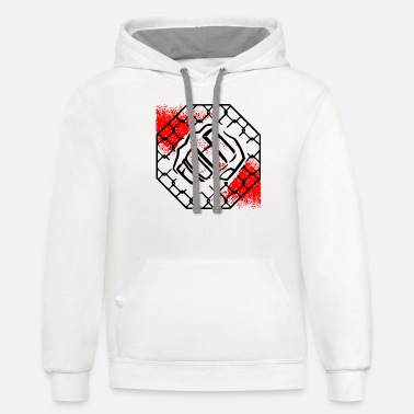 Octagon Cage Octagon Fighting Fist ©WhiteTigerLLC.com - Unisex Two-Tone Hoodie