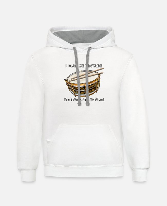 Drummer Hoodies & Sweatshirts - I May Be Vintage But I Still Like To Play - Unisex Two-Tone Hoodie white/gray