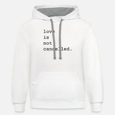 Valentine Typewriter Love Is Not Cancelled Cute and Funny Valentine's - Unisex Two-Tone Hoodie