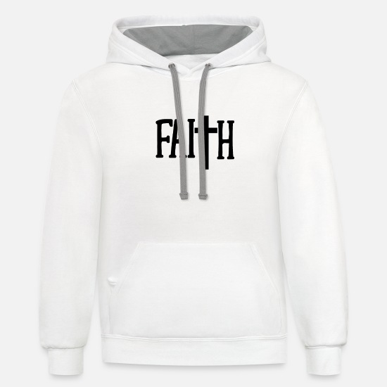 Christian Hoodies & Sweatshirts - Christian Faith Cross - Christian Gift - Unisex Two-Tone Hoodie white/gray