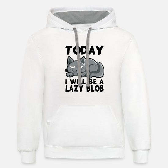 Lazy Hoodies & Sweatshirts - Jolly Kitten What's Lazy Humorous Gift - Unisex Two-Tone Hoodie white/gray