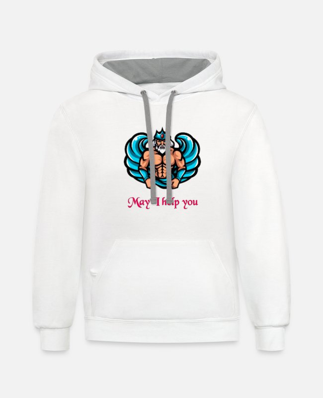 Help Hoodies & Sweatshirts - May I Help You - Unisex Two-Tone Hoodie white/gray