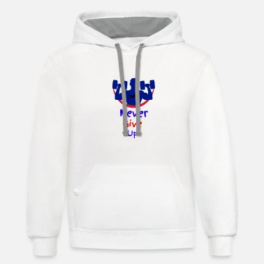 Never give up - Unisex Two-Tone Hoodie