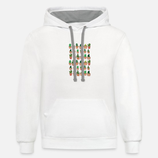 Cactus Hoodies & Sweatshirts - Lots Of Cactus Succulent Desert Plant Spiny Funny - Unisex Two-Tone Hoodie white/gray