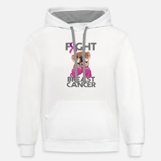 Cancer Hoodies & Sweatshirts - Fight Breast Cancer Bulldog Breast Cancer Month - Unisex Two-Tone Hoodie white/gray