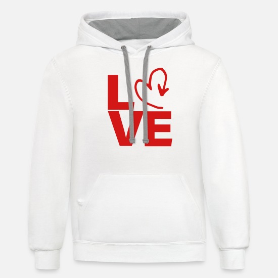 Love Hoodies & Sweatshirts - love heart - Unisex Two-Tone Hoodie white/gray