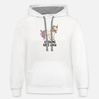 Since Awesome Since 2002 Unicorn Birthday Gift - Unisex Two-Tone Hoodie