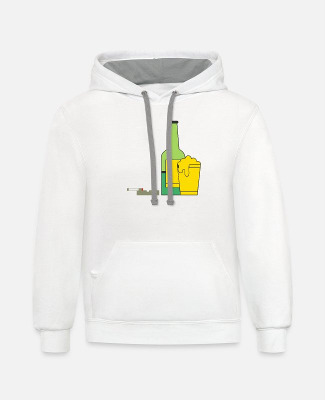 Beerathlon Hoodies & Sweatshirts - Free Beer And Smoke - Unisex Two-Tone Hoodie white/gray