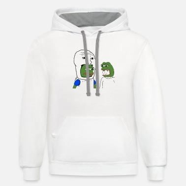 Frog Pepe and Wojak Cosplay - Unisex Two-Tone Hoodie