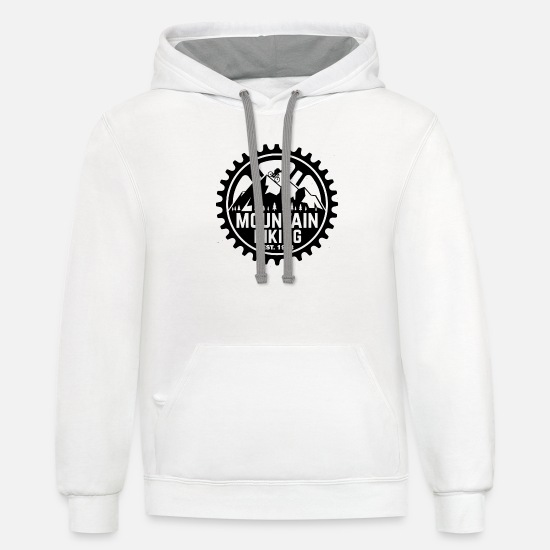Mountain Biking Hoodies & Sweatshirts - Mountain biking vector - Unisex Two-Tone Hoodie white/gray