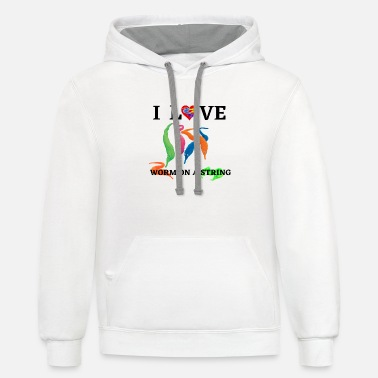 Illusion I Love Worms On A String - Unisex Two-Tone Hoodie
