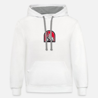 Paint Brush Knight Full Armor Holding Paint Brush Half Circle - Unisex Two-Tone Hoodie