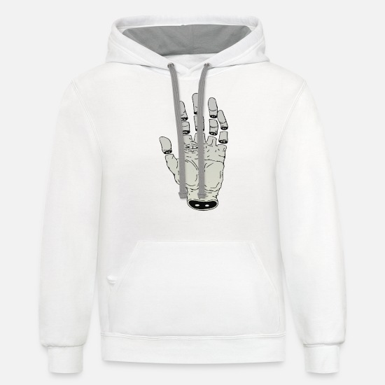Fate Hoodies & Sweatshirts - THE HAND OF DESTINY - Unisex Two-Tone Hoodie white/gray