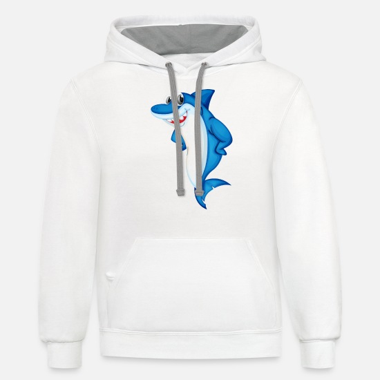 Shark Hoodies & Sweatshirts - Shark sea animal vector image cartoon illustration - Unisex Two-Tone Hoodie white/gray
