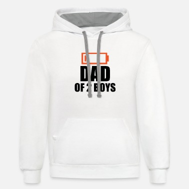 Boy low energie Dad with 2 boys - Unisex Two-Tone Hoodie