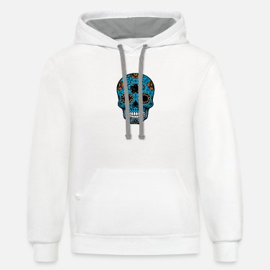 day of the dead skull - Unisex Two-Tone Hoodie