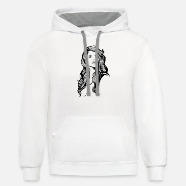 young lady with roses - Unisex Two-Tone Hoodie