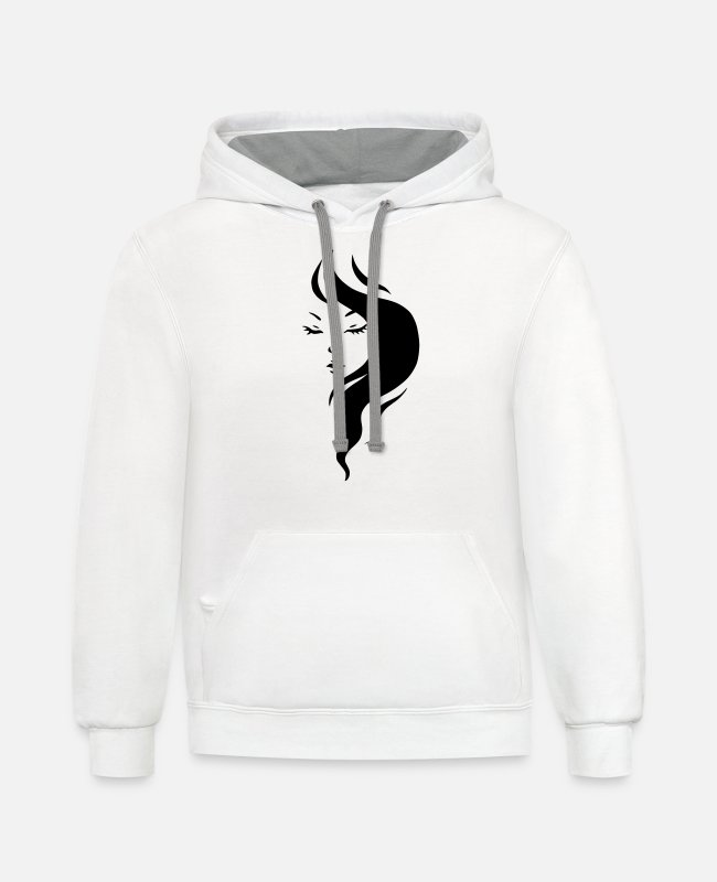 Beauty Hoodies & Sweatshirts - Beautiful Girl Logo - Unisex Two-Tone Hoodie white/gray