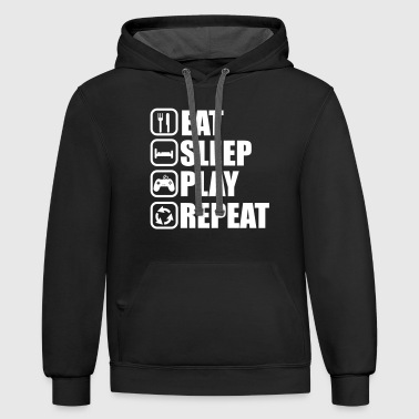 EAT SLEEP PLAY GEEK GAMER - Contrast Hoodie
