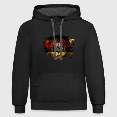 Uganda Flag & African Lion Picture - Contrast Hoodie