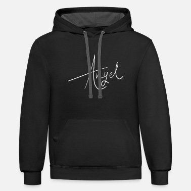 Handwriting Angel Handwriting for Halloween or Bachelorette - Contrast Hoodie