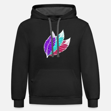 Bright Colors Colorful feathers (bright) - Contrast Hoodie