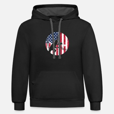 Catcher Catcher Baseball America Flag - Contrast Hoodie