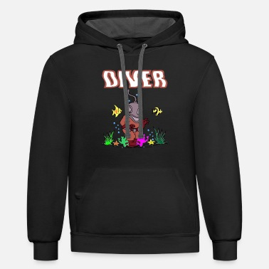 diving diver sports water sea gift saying dive sea - Contrast Hoodie