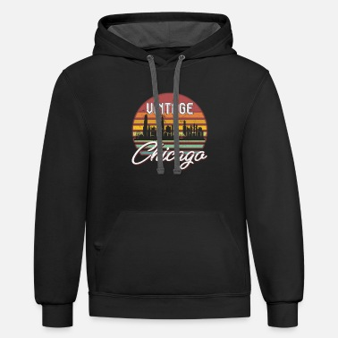 Windy City Chicago Vintage Sunset Skyline Retro T-Shirt - Contrast Hoodie