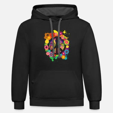 Peace Peace Sign Hippie 70's Gift Item - Contrast Hoodie
