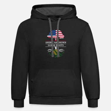 Saxon American Grown with Saxon Roots Saxony Design - Contrast Hoodie