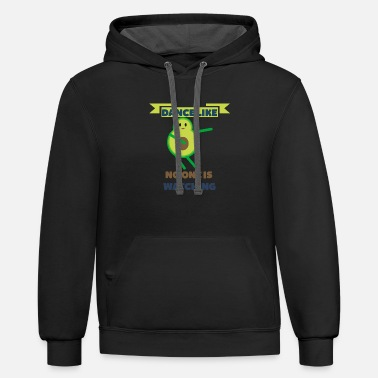 funny saying avocado dance like no one is watching - Contrast Hoodie