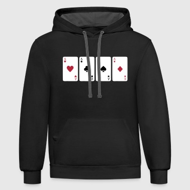 Card Game, Poker, Ace - Contrast Hoodie
