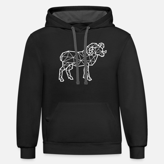 Gift Idea Hoodies & Sweatshirts - Geometric Ram - Unisex Two-Tone Hoodie black/asphalt