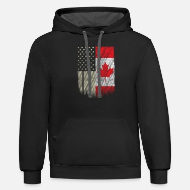 Canadian American Canadian Flag Shirt Thanks Canada USA Friendship - Contrast Hoodie