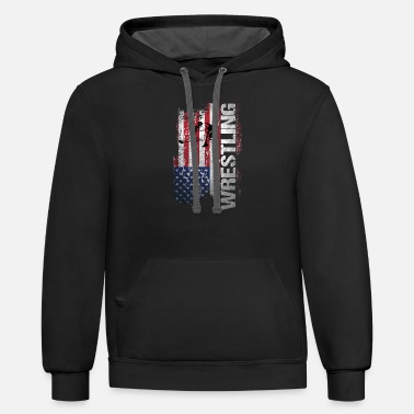 Wrestle USA Flag Wrestling T-Shirt - Contrast Hoodie