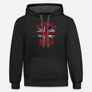 Union Jack British Roots Tree Union Jack Flag UK Family Ancestry Heritage - Unisex Two-Tone Hoodie