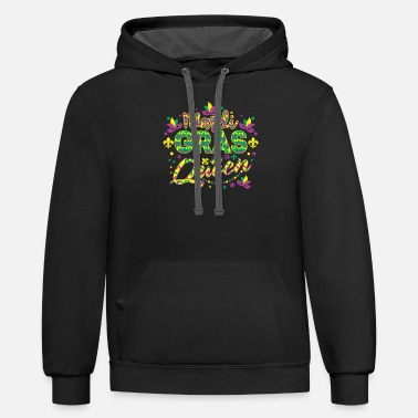 Mardi Gras Queen T shirt - Unisex Two-Tone Hoodie