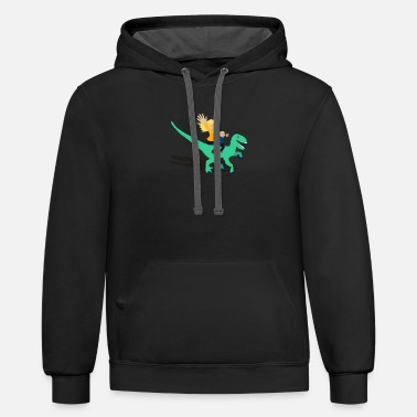 Blonde Woman and Child Riding A Velociraptor - Unisex Two-Tone Hoodie