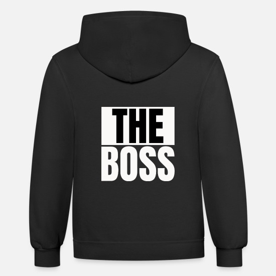 Couples Hoodies & Sweatshirts - Text: Matching couple, The boss (white) - Unisex Two-Tone Hoodie black/asphalt