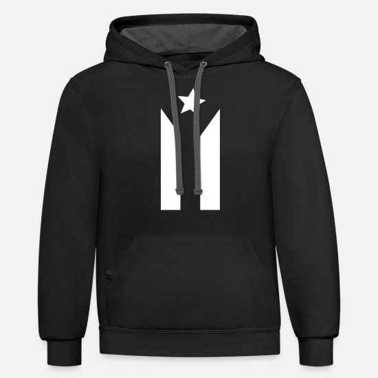 Puerto Rico Hoodies & Sweatshirts - Puerto Rican Black and White Flag - Unisex Two-Tone Hoodie black/asphalt