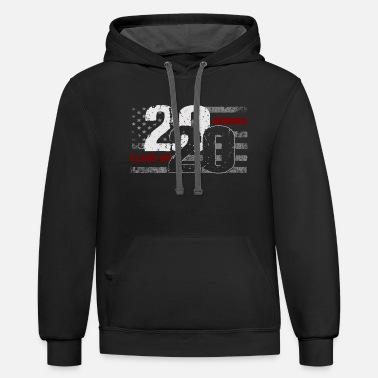 Class Class of 2020 Distressed American Flag - Unisex Two-Tone Hoodie
