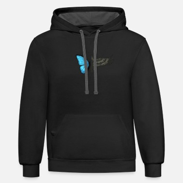 Strange RAVEN AND BUTTERFLY - GIFT -PRESENT - beautiful - Unisex Two-Tone Hoodie