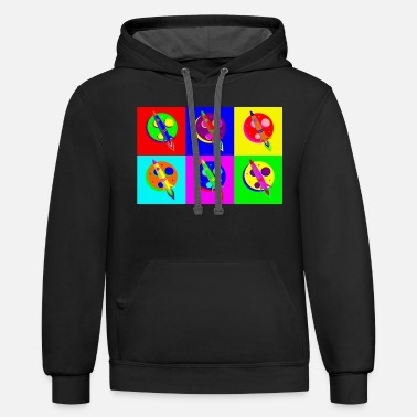 Popartcontest Rocket Moon Pop Art - Unisex Two-Tone Hoodie