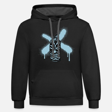 Tahiti SPRAY A CROSS TIKI (P) by toneyshirts - Unisex Two-Tone Hoodie