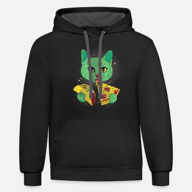 Funny Galaxy Taco Cat Tee Gift For Taco and Pizza - Unisex Two-Tone Hoodie