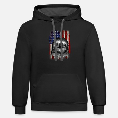 American Flag Vintage Sloth 4th of July Patriotic - Unisex Two-Tone Hoodie
