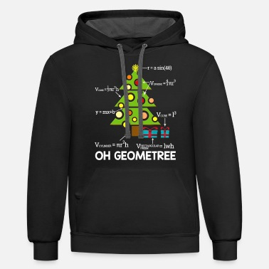 Geometry Funny Math Geometry Christmas Tree Geometree Teach - Unisex Two-Tone Hoodie