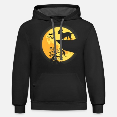 Halloween Costume Silhouette Chihuahua Dog Moon - Unisex Two-Tone Hoodie